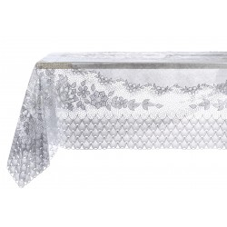 Vinyl lace tablecloth Silver
