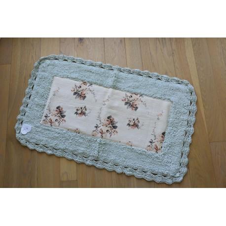 Duo de tapis au crochet Shabby vert et rose