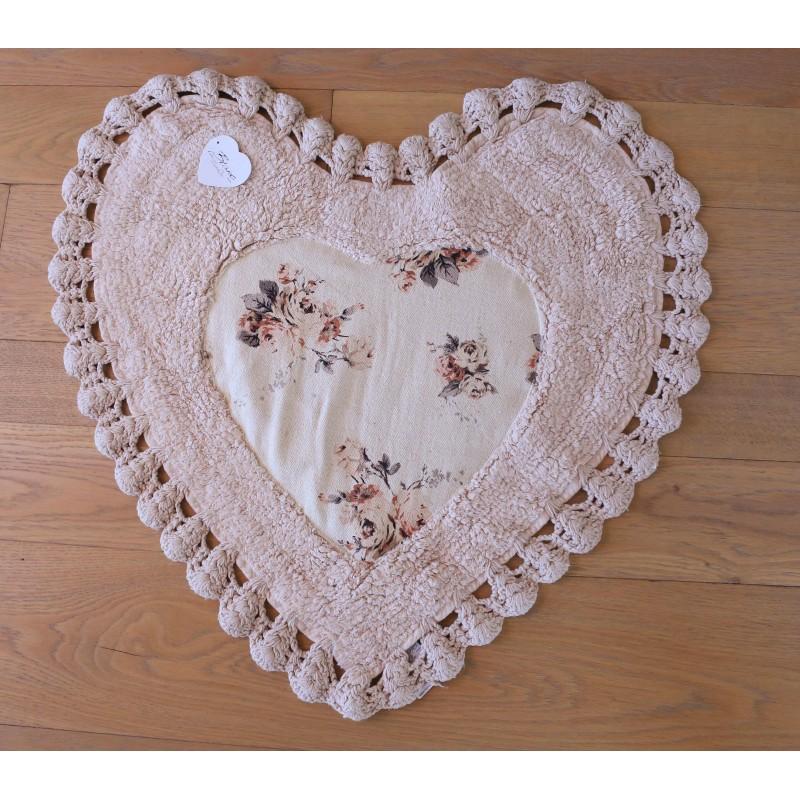 duo de tapis coeur avec crochet shabby rose par blanc mariclo. Black Bedroom Furniture Sets. Home Design Ideas