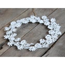 Couronne décorative à fleurs blanc antique