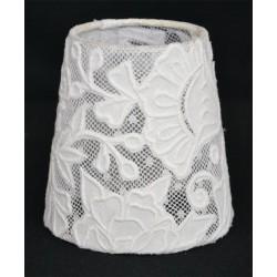 Round white lace lampshade transparent - diameter 10 cm