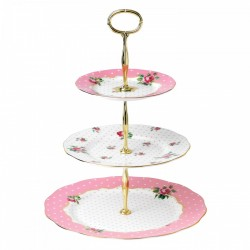 Support à gâteaux Vintage 3 plateaux Cheeky Pink