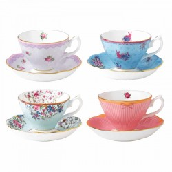 Candy Teacups & Saucers (Set Of 4 boxed)