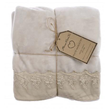 Plaid merletto 140x170 cm par blanc mariclo pour une d co - Plaid pour lit 140 ...