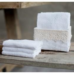 """Panier """"Basket Lace"""" avec 6 petites serviettes blanches"""