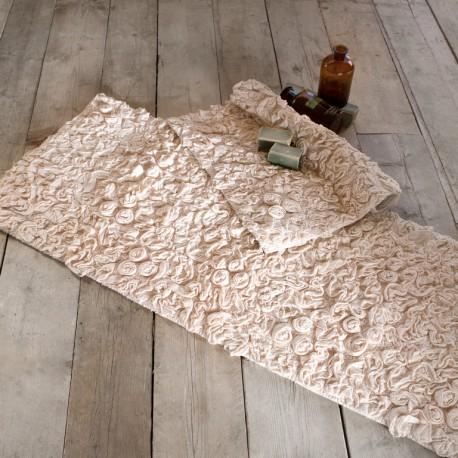 blanc mariclo tapis rosetto naturel 53 x 85 cm style shabby chic ebay. Black Bedroom Furniture Sets. Home Design Ideas
