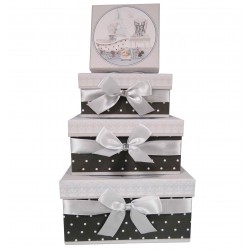 "Set 3 round paper box ""angel"""