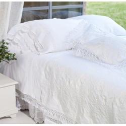 "Couvre lit Blanc ""Ana"" 260 x 260 cm"