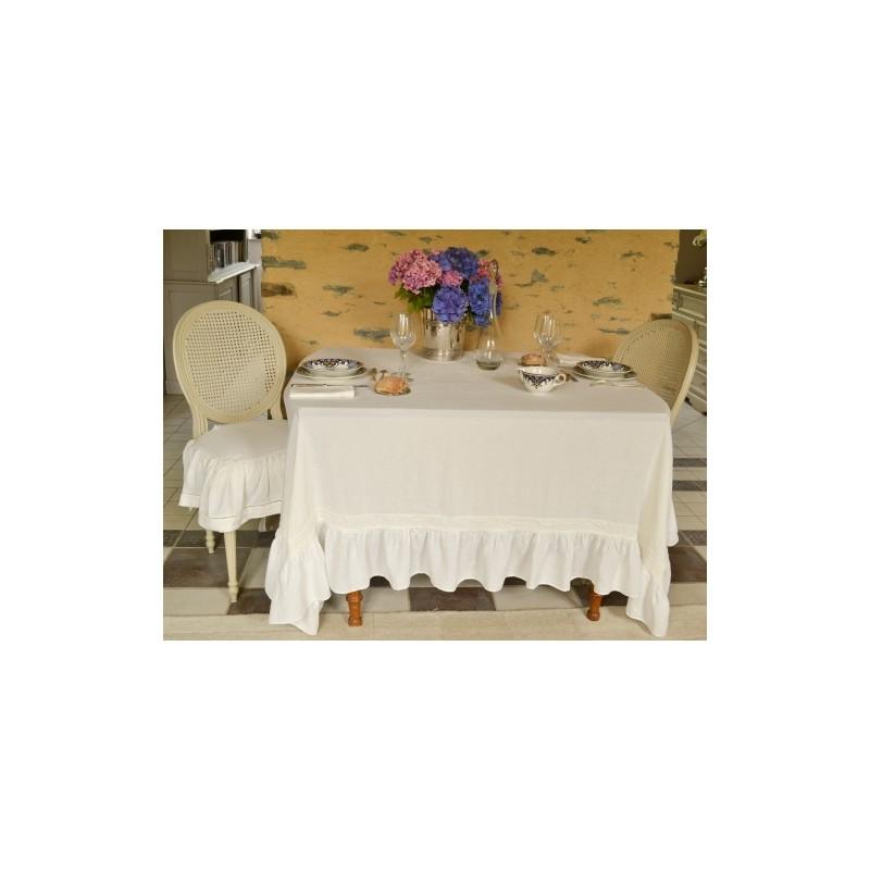 nappe chim ne ivoire une cr ation amandine de br velay pour une d co shabby chic. Black Bedroom Furniture Sets. Home Design Ideas