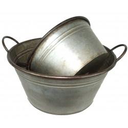 Set de 2 bassines rondes en zinc