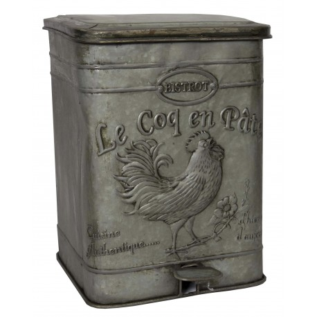 poubelle en zinc au d cor coq par antic line id ale pour une d co vintage. Black Bedroom Furniture Sets. Home Design Ideas