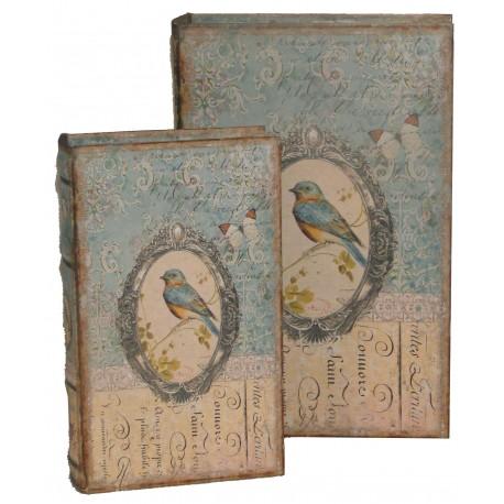 set de 2 bo tes faux livres au d cor oiseau par antic line pour une d co shabby chic. Black Bedroom Furniture Sets. Home Design Ideas