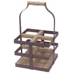 Iron and wood support for 4 bottles