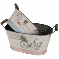 Set of 2 basins with bicycle decor