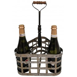Vintage zinc basket for 6 bottles