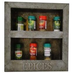 Rack à épices mural en zinc