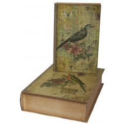 Set de 2 boîtes faux livres au décor oiseau à fleurs
