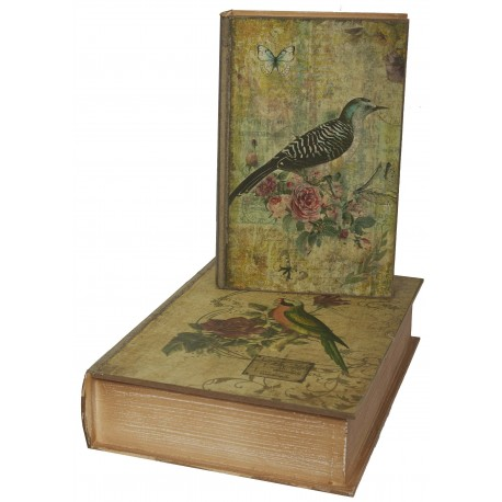 set de 2 bo tes faux livres au d cor oiseau fleurs par antic line pour une d co shabby chic. Black Bedroom Furniture Sets. Home Design Ideas