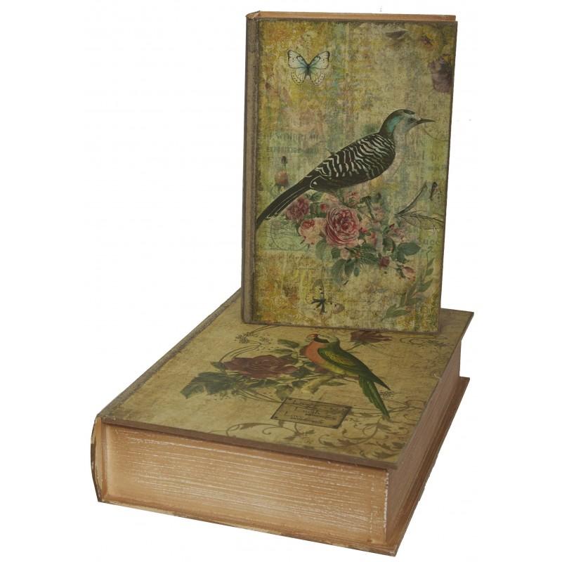 set de 2 bo tes faux livres au d cor oiseau fleurs par antic line pour une d co shabby chic. Black Bedroom Furniture Sets. Home Design Ideas
