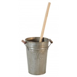 "Bucket zinc ""WC"" with toilet brush"