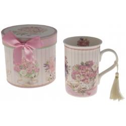 Coffret mug décor tasse fleurie