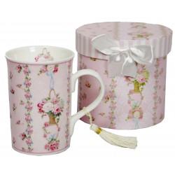 Coffret mug décor tasse fleurie roses anciennes