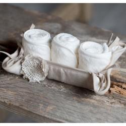 Panier avec 3 petites serviettes 30x30 cm