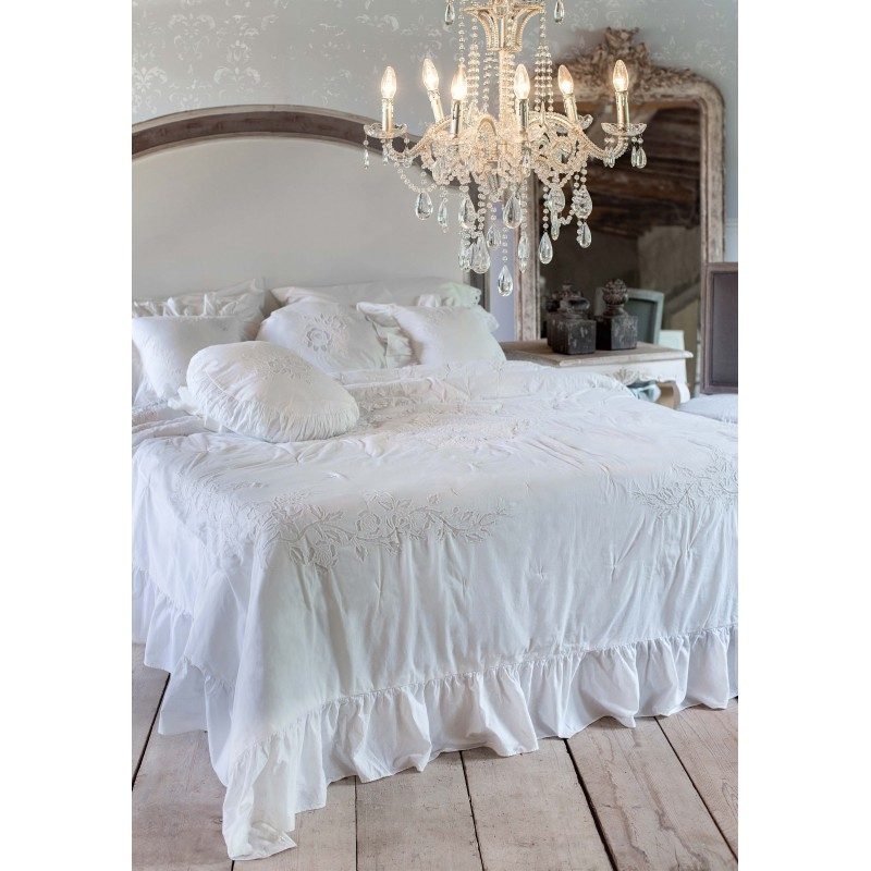 embroidered bedspread white 240 x 240 cm la rugea. Black Bedroom Furniture Sets. Home Design Ideas