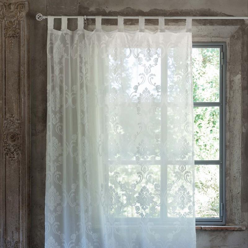 Rideau charlotte 150 x 290 cm de chez blanc mariclo for Rideaux style shabby chic