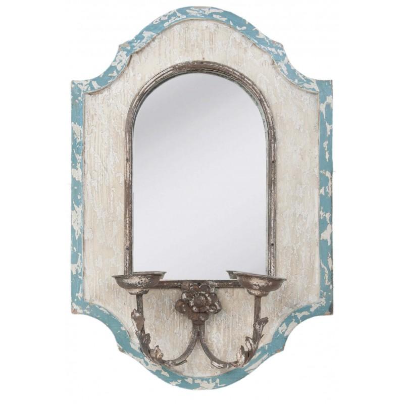 Miroir mural chandelier antique en bois par clayre eef for Miroir mural bois