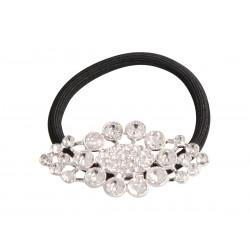 Elastique à cheveux fleur à cristaux oval