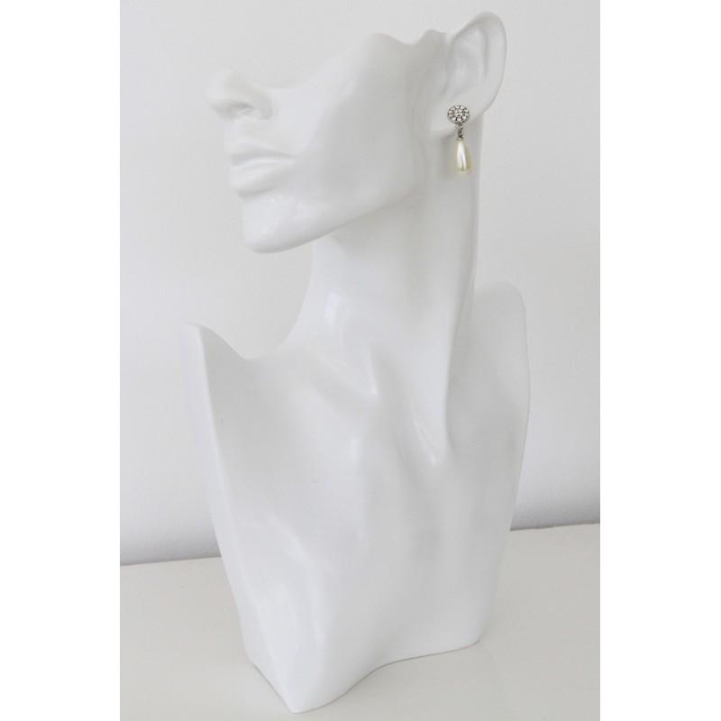 Boucles d oreilles cristaux swarovski et perle nacr e swarovski blanc ivo - Blanc ivoire couleur ...