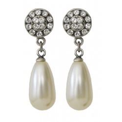 Boucles d'oreilles à cristaux Swarovski® et perles blanc ivoire sur monture couleur argent