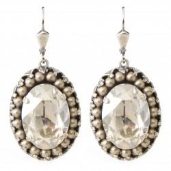 Boucles d'oreilles ovales cristal Swarovski® Silver Shade orné de perles en cristal Swarovski® Light Grey Pearl