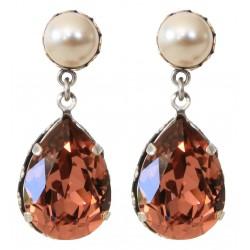 Boucles d'oreilles en forme de goutte cristal Swarovski® Blush Rose et perle nacrée Swarovski® Cream Pearl
