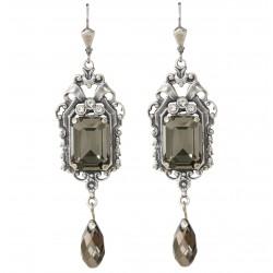 Boucles d'oreilles pendantes en métal argenté ouvragé avec cristaux Swarovski® Black Diamond et Crystal