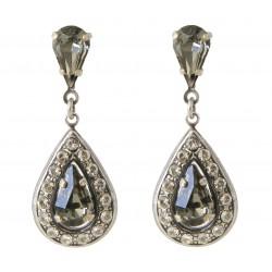 Boucles d'oreilles cristaux Swarovski® Black Diamond et Crystal en métal argenté
