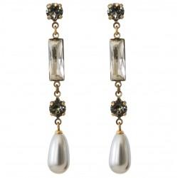 Boucles d'oreilles vieil or cristaux Swarovski® Black Diamond et Crystal avec perle nacrée Swarovski® Light Grey Pearl