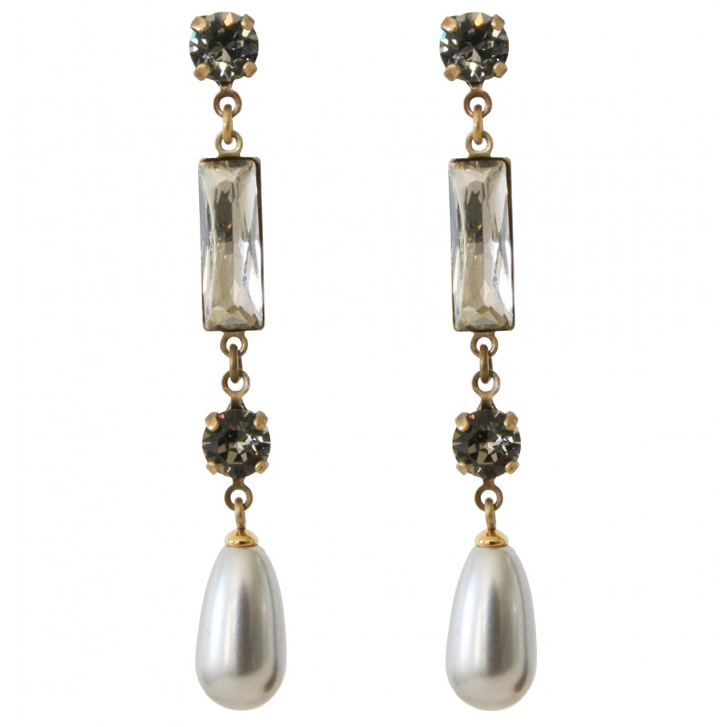 Earrings Old Gold Swarovski 174 Crystals Black Diamond And