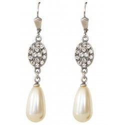 Boucles d'oreilles à cristaux Swarovski® et perle nacrée Swarovski® blanc ivoire sur monture argent
