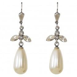 Boucles d'oreilles à cristaux Swarovski® Crystal et perle nacrée Swarovski® blanc ivoire sur monture argent