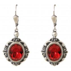 Boucles d'oreilles à cristaux Swarovski® ruby sur monture argent