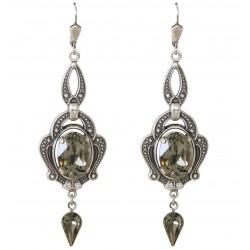 Boucles d'oreilles à cristaux Swarovski®Black Diamond sur monture argent