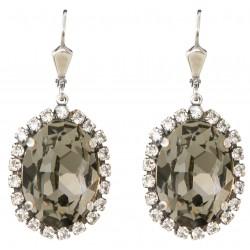 Boucles d'oreilles à cristaux Swarovski® Black Diamond de forme ovale sur monture argent