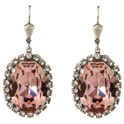 Boucles d'oreilles à cristaux Swarovski® Antique Pink sur monture argent