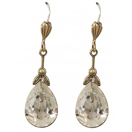 """Boucles d'oreilles à cristaux Swarovski® """"Silver Shade"""" sur monture vieil or"""