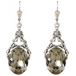 Boucles d'oreilles à cristaux Swarovski® Black Diamond sur monture argentciselée