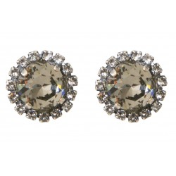 Boucles d'oreilles rondes cristal Swarovski® Black Diamond orné de petits cristaux Swarovski® Crystal