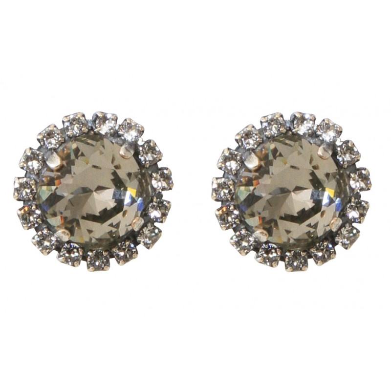 Swarovski 174 Crystal Round Diamond Earrings With Swarovski