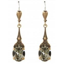 Boucles d'oreilles à cristaux Swarovski® Black Diamond sur monture vieil or